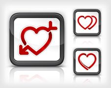 Heart With Arrow In Button Stock Images