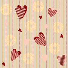 Free Seamless Pattern With Striped Hearts Royalty Free Stock Image - 28726386