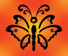 Free Butterfliy On Orange Background Royalty Free Stock Photography - 28726957