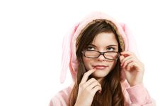 Free Portrait Of A Beautiful Girl Wearing Glasses Stock Photography - 28727232