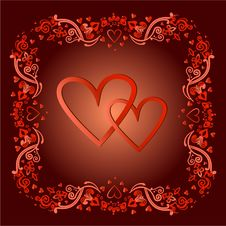 Free Two Hearts In A Frame In A Vector Royalty Free Stock Images - 28727359