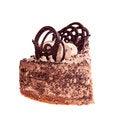 Free Piece Of Brown Cake On A White Stock Photos - 28734483