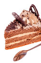 Free Piece Of Cake And Tea-spoon Royalty Free Stock Photo - 28734485
