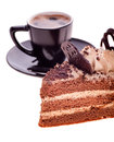 Free Black Coffee And A Piece Of Cake Royalty Free Stock Photos - 28734488