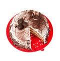 Free Cake Chocolate On Red Plate Stock Photos - 28734493