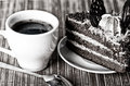 Free Black Coffee, A Slice Of Cake And A Teaspoon Royalty Free Stock Image - 28734506