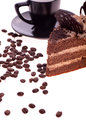 Free Grain Coffee Scattered,a Cup And A Piece Of Cake Royalty Free Stock Images - 28734509