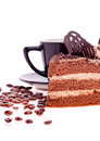 Free Grain Coffee Scattered,a Cup And A Piece Of Cake Stock Photography - 28734512