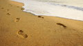 Free Footprints On The Sand By The Sea. Royalty Free Stock Photography - 28736857