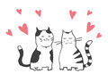 Free Vector Valentines Card With Two Cats Stock Photos - 28738803