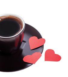 Free Three Hearts In A Mug Of Black Coffee Stock Image - 28734491