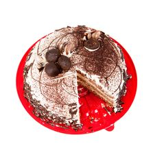 Free Cake Chocolate On Red Plate Stock Photos - 28734493