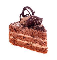 Free Piece Of Brown Cake On A White Royalty Free Stock Photos - 28734508