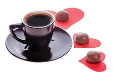 Free Chocolate Candy At The Heart Of Paper And Coffee Black Royalty Free Stock Photo - 28734515