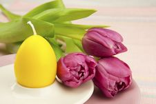 Easter Still Life With Tulips Stock Photo