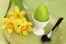 Easter Still Life With Dishes For Eggs Stock Photo