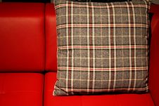 Free Red Sofa And Pillow Stock Image - 28738681