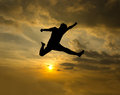 Free Silhouette Of Man Jumping Stock Photography - 28747922