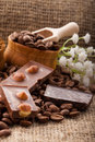 Free Coffee Beans In A Wooden Bowl On Burlap Background Stock Photo - 28749290