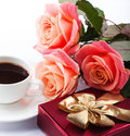 Free Flowers, Cup Of Coffee And Sweets. Stock Photography - 28749622
