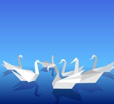 Free Origami Swans. Royalty Free Stock Photography - 28740937