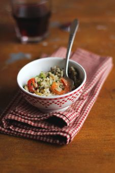 Cooked Brown Rice With Celery, Tomatoes And Shrimps Royalty Free Stock Images