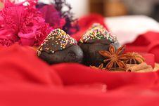 Two Piece Dark Chocolate Cake For Christmas Royalty Free Stock Photo