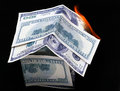 Free House Of Dollar Bills. Fire Royalty Free Stock Photo - 28763205
