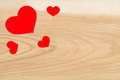 Free Beautiful Red Hearts On A Background Of Wood Stock Image - 28768881