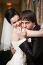 Free Romantic Kiss Happy Bride And Groom Royalty Free Stock Photography - 28769597