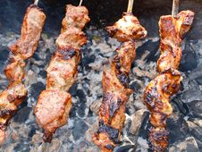 Free Roasted Kebabs On The Grill Royalty Free Stock Photo - 28769095