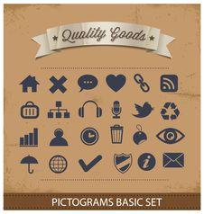 Free Premium And Simple Pictograms Set Stock Photos - 28769603