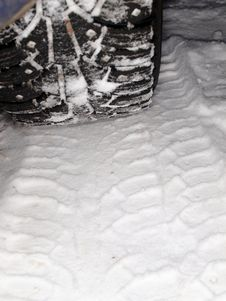 Winter Tire Tracks In Snow Royalty Free Stock Images
