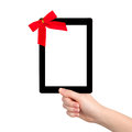 Free Female Hands Holding A Tablet With Isolated Screen And A Red Gif Stock Photos - 28771273