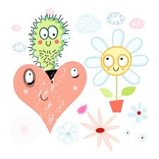 Free Love Cactus And Flower Stock Photo - 28771190