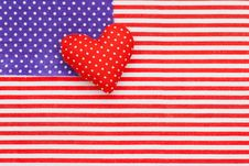 Free Blue Polka Dots And Red/white Striped Fabric As American Flag Stock Photos - 28773893