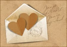Free Vintage Background With Envelope And Hearts Stock Photo - 28775160