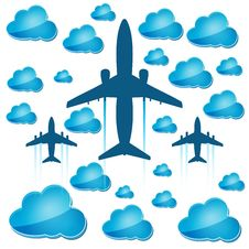 Free Silhouettes Of Airplanes With Blue Clouds Stock Images - 28781154