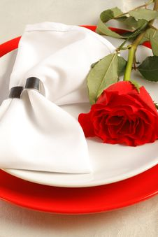 Free Place Setting With A Red Rose Royalty Free Stock Photos - 28785188