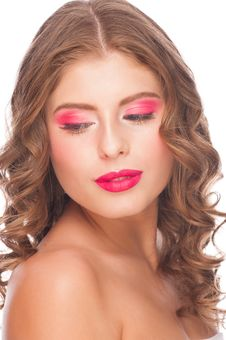 Free Woman With Bright Makeup Royalty Free Stock Photo - 28786065