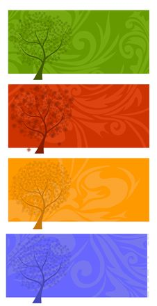 Free Four Seasons Tree Banners Stock Images - 28790524