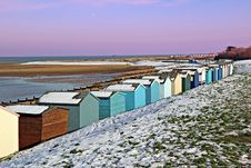 Free Beach Huts In The Winter Snow Stock Image - 28791611