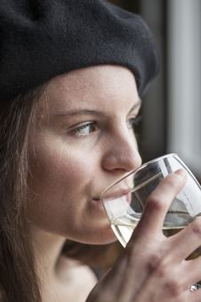 Free Young Woman Drinking White Wine Stock Images - 28794494