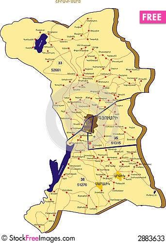 Shirak Map Free Stock Images Photos - Gyumri map
