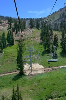 Summer Ski Resort / Chair Lift Royalty Free Stock Photo