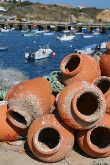 Fishing Pots In Terracotta Royalty Free Stock Photography