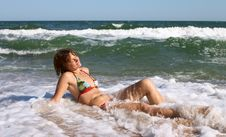 Free Girl Relaxing In Wave Stock Photo - 2885020