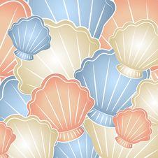 Pastel Seashells Background Stock Images