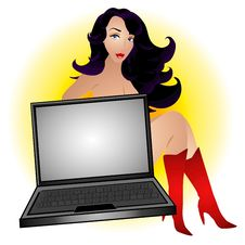 Free Sexy Female Computer Geek Royalty Free Stock Photography - 2887397