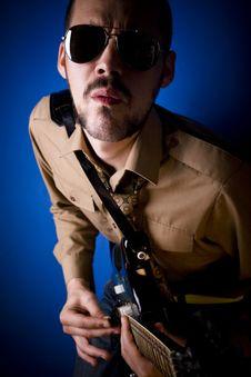 Intense Guitar Player Royalty Free Stock Image